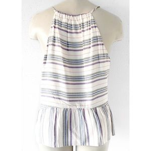 Saks Fifth Avenue Tops - SAKS FIFTH AVENUE STRIPED PEPLUM V-NECK TANK TOP M
